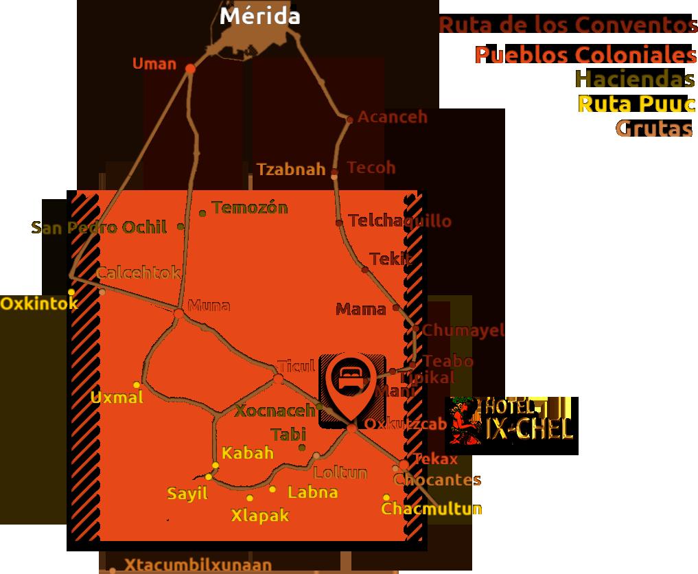 Mapa ruta de los conventos: