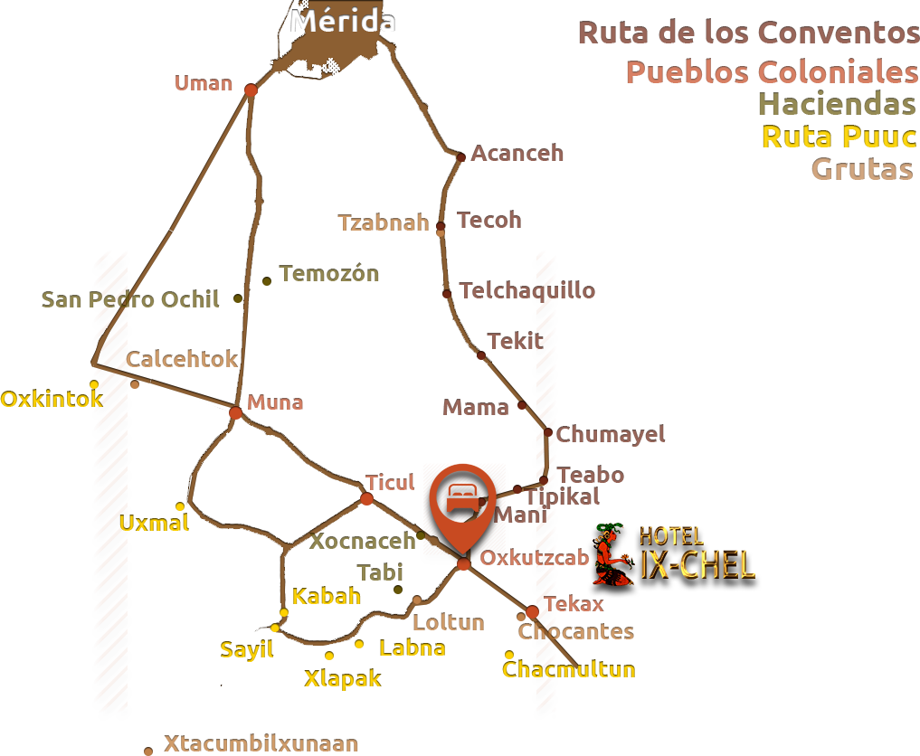 Mapa de la ruta puuc