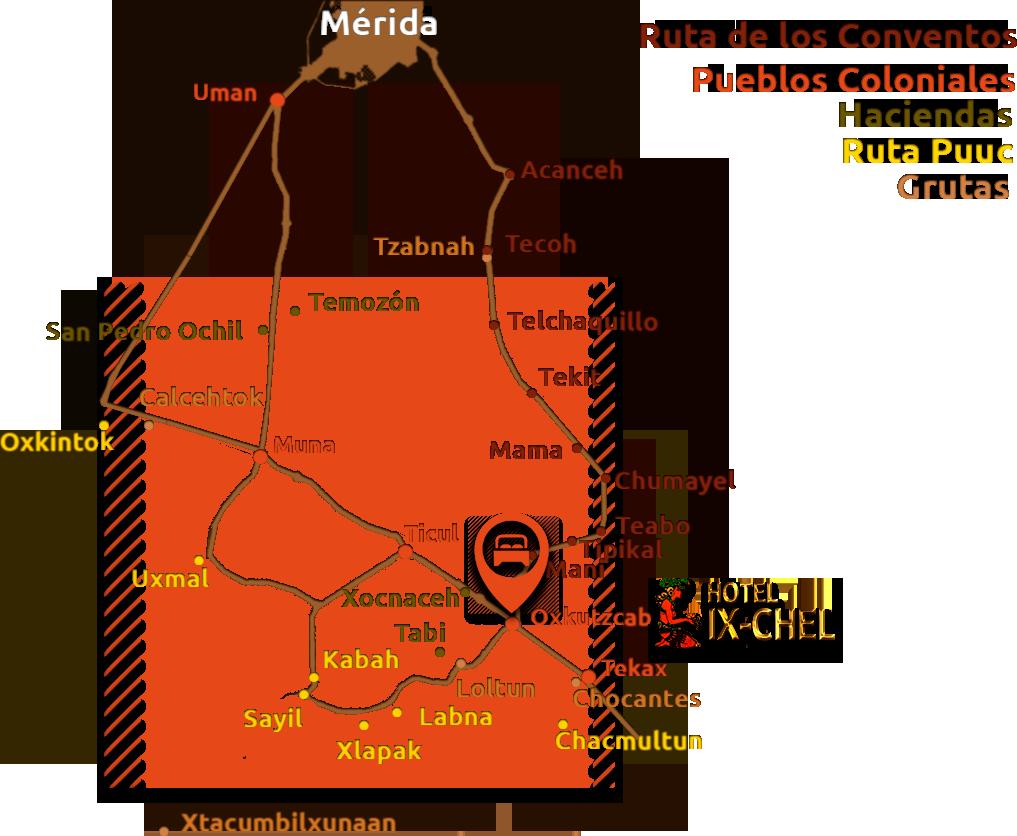 Mapa de la zona Puuc: Grutas de loltun