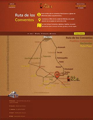 Ruta de los conventos: Mapa con los conventos y Oxkutzcab hotel Ix-chel