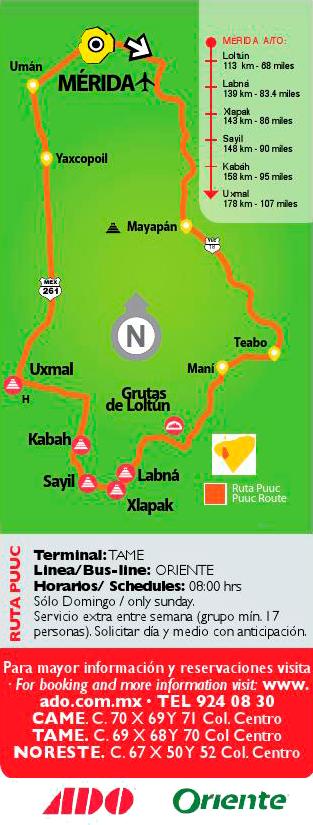 ADO Merida (TAME, CAME, Noreste), Ruta turistica sur: ruta puuc